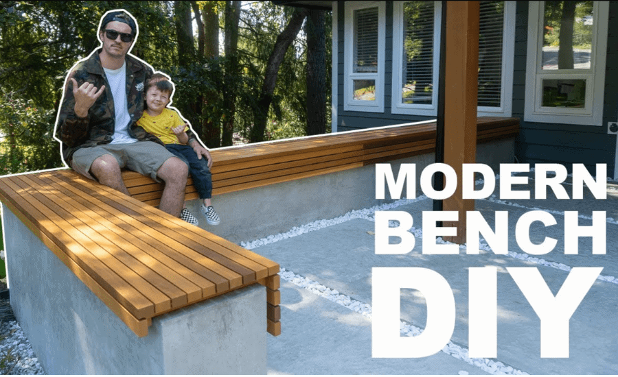 awesome backyard decor ideas How-To-Build-A-Modern-Concrete-And-Wood-Bench-DIY-