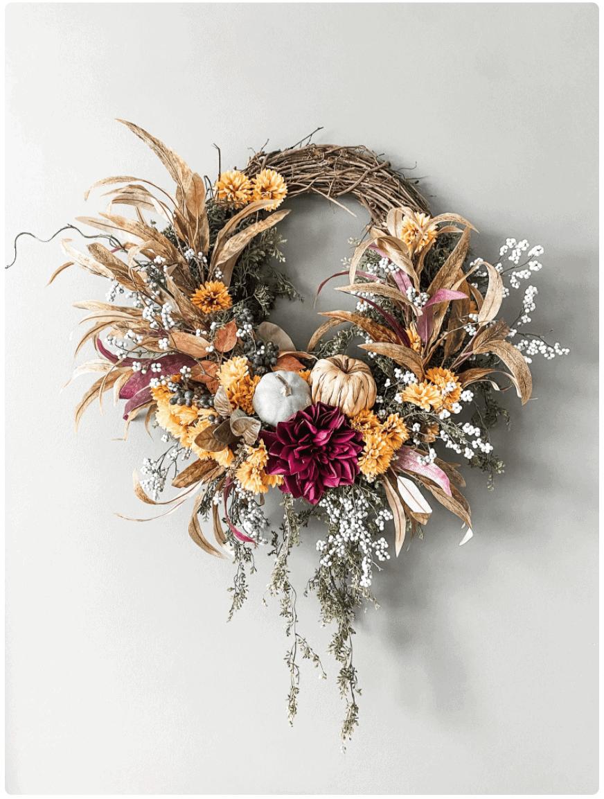 Fall Golden Maroon Wreath diy halloween wreath