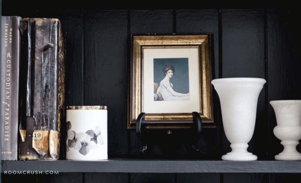 how to style a moody bookshelf_black paint ideas
